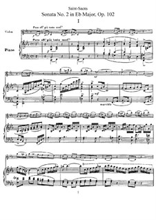 Sonata for Violin and Piano No.2 in E Flat Major, Op.102: partitura, parte solo by Camille Saint-Saëns