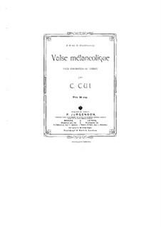Melancholic Waltz: partitura by César Cui