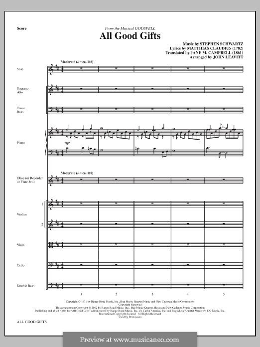 All Good Gifts (from Godspell): partitura completa by Stephen Schwartz