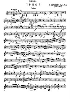 Three Piano Trios, Op.1: Trio No.1 – violin part by Ludwig van Beethoven