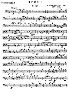 Three Piano Trios, Op.1: Trio No.1 – cello part by Ludwig van Beethoven