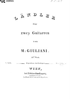 Ländler for Two Guitars, Op.55: Ländler for Two Guitars by Mauro Giuliani