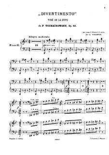 Suite No.1 in D Minor, TH 31 Op.43: No.2 Divertimento, for two pianos – piano II part by Pyotr Tchaikovsky