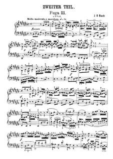 Prelude and Fugue No.3 in C Sharp Major, BWV 872: Para Piano by Johann Sebastian Bach