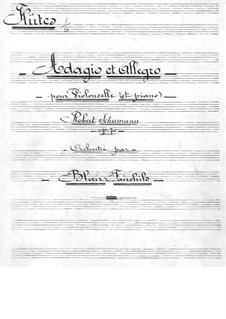 Adagio and Allegro, Op.70: For cello and orchestra – flutes part by Robert Schumann