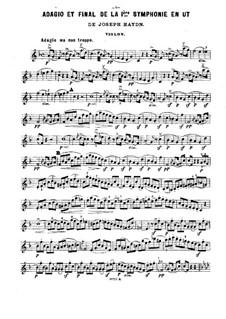 Fragments des symphonies célèbres: Volume II. Version for piano trio – violin part by Joseph Haydn