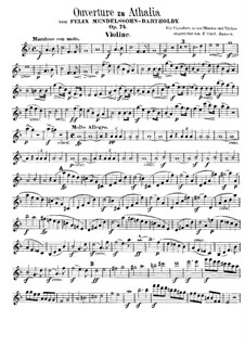 Musik zu Athalia (Music to Athalie), Op.74: Overture – violin part by Felix Mendelssohn-Bartholdy