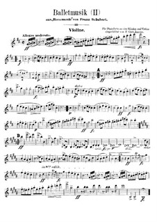 Fragments: Ballet Music No.2, for violin and piano four hands – solo part by Franz Schubert