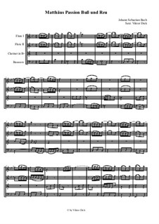 Nr.6 Buß und Reu: Für Holzbläserquartett by Johann Sebastian Bach