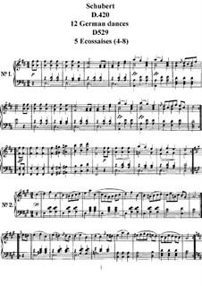 Twelve German Dances and Five Ecossaises, D.420, D.529 No.4-8: para um único musico (Editado por H. Bulow) by Franz Schubert