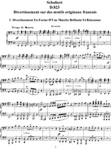 Divertissement on French Themes, D.823: Ciclo completo by Franz Schubert