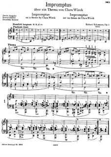 Impromptus on a Theme by Clara Wieck, Op.5: para piano (segunda edição) by Robert Schumann