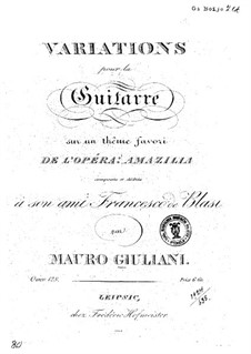 Variations on Theme from 'Amazilla' for Guitar, Op.128: Variations on Theme from 'Amazilla' for Guitar by Mauro Giuliani
