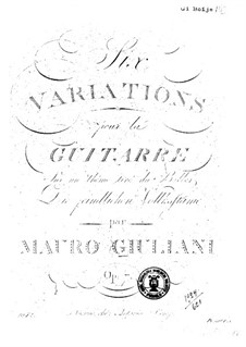 Six Variations for Guitar, Op.7: For a single performer by Mauro Giuliani