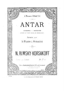 Symphony No.2 in F Sharp Minor 'Antar', Op.9: arranjos para piano de quatro mãos by Nikolai Rimsky-Korsakov