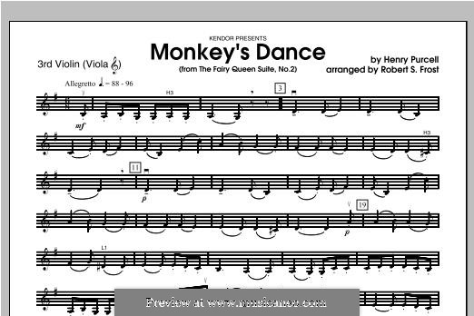 The Fairy Queen, Z.629: Monkey's Dance, for strings – Violin 3 part by Henry Purcell
