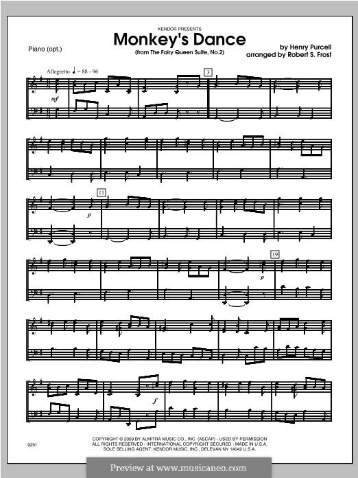 The Fairy Queen, Z.629: Monkey's Dance, for strings – Piano part by Henry Purcell