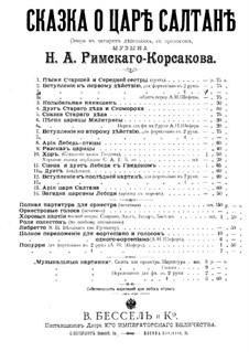 The Tale of Tsar Saltan. Opera: Introduction to Act I, for piano four hands by Nikolai Rimsky-Korsakov