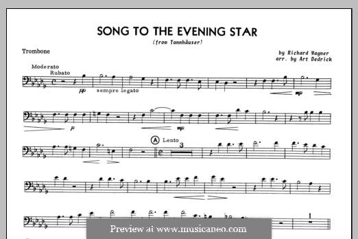 O Star of Eve: For trombone and piano – trombone part by Richard Wagner