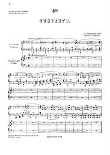 Concerto for Piano and Orchestra No.4 in D Minor, Op.70: Versão para dois pianos de quatro mãos by Anton Rubinstein