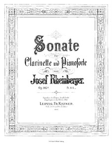 Sonata for Clarinet and Piano, Op.105a: Score by Josef Gabriel Rheinberger