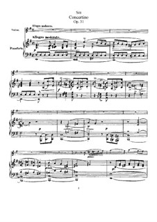 Concertino in E Minor, Op.31: arranjos para violino e piano - Partitura, parte solo by Hans Sitt