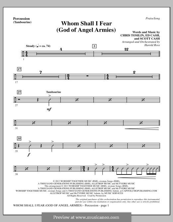 Whom Shall I Fear (God of Angel Armies): parte percusão by Chris Tomlin, Ed Cash, Scott Cash