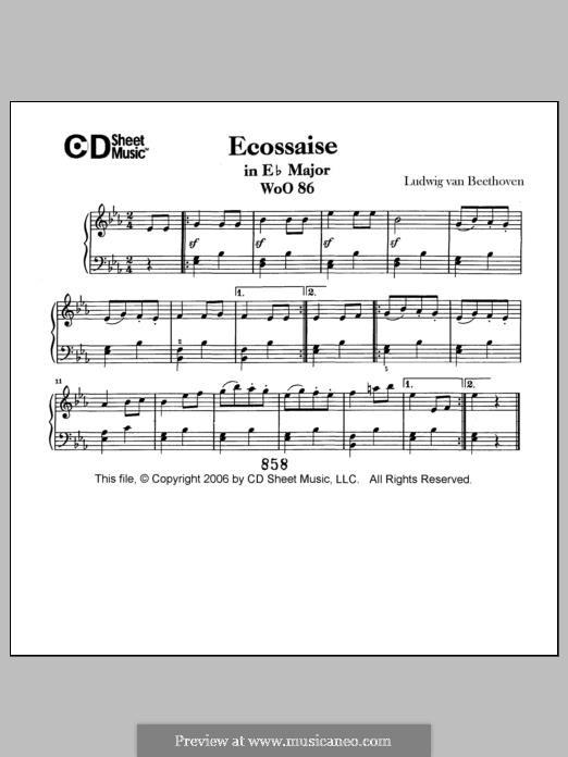 Minuet in E Flat Major, WoO 82: Para Piano by Ludwig van Beethoven