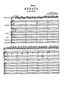 Sonata for Violin and Basso Continuo in E Minor, BWV 1023: Arrangement for organ and strings by Johann Sebastian Bach