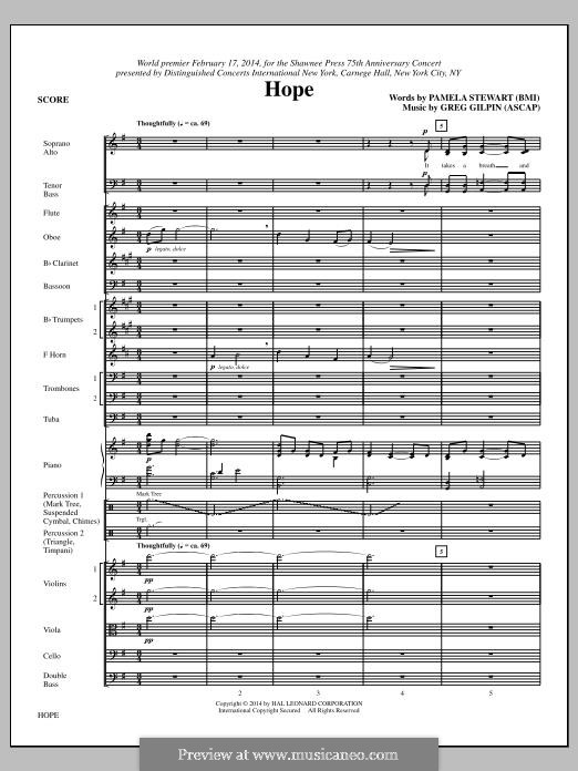 Hope: partitura completa by Greg Gilpin
