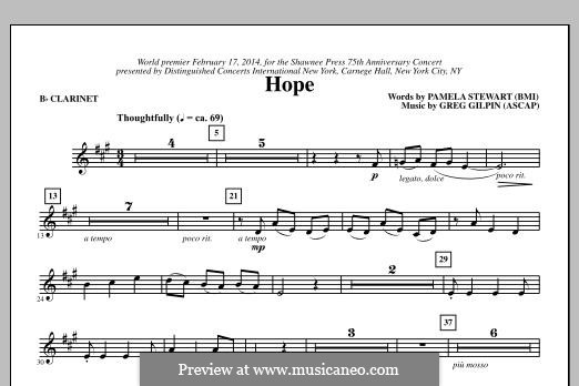 Hope: parte clarinete by Greg Gilpin