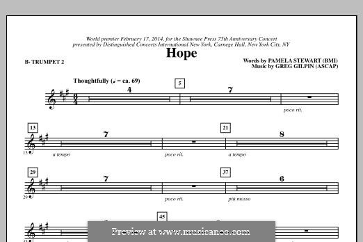 Hope: Bb Trumpet 2 part by Greg Gilpin