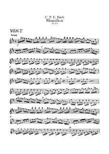 Magnificat in D Major for Soloists, Choir and Orchestra, H 772 Wq 215: violino parte I by Carl Philipp Emanuel Bach