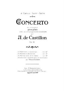 Piano Concerto in D Major, Op.12: Versão para dois pianos de quatro mãos by Alexis de Castillon