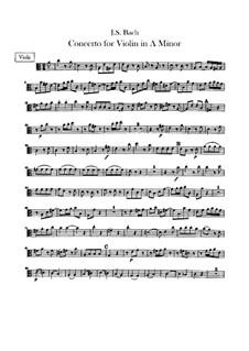 Concerto for Violin, Strings and Basso Continuo No.1 in A Minor, BWV 1041: parte viola by Johann Sebastian Bach