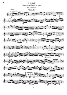Double Concerto for Two Violins, Strings and Basso Continuo in D Minor, BWV 1043: Arrangement for two violins and piano – violin II part by Johann Sebastian Bach