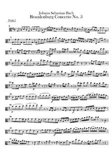 Brandenburg Concerto No.3 in G Major, BWV 1048: viola parte I by Johann Sebastian Bach