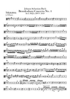 Brandenburg Concerto No.4 in G Major, BWV 1049: parte viola by Johann Sebastian Bach