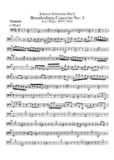 Brandenburg Concerto No.4 in G Major, BWV 1049: parte violoncelo by Johann Sebastian Bach