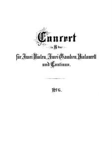 Brandenburg Concerto No.6 in B Flat Major, BWV 1051: Partitura completa by Johann Sebastian Bach