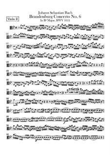 Brandenburg Concerto No.6 in B Flat Major, BWV 1051: Viola da braccio II part by Johann Sebastian Bach