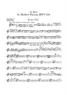 Complete Oratorio: Orchestra II, Violin I Part by Johann Sebastian Bach