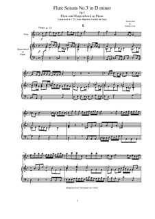Six Sonatas for Two Flutes, Op.5: Sonata No.3 in D minor by Jean Baptiste Loeillet de Gant