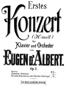 Piano Concerto No.1 in B Minor, Op.2: Partitura piano by Eugen d'Albert
