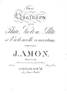 Three Quartets for Flute and Strings, Op.42: parte violoncelo by Johann Andreas Amon