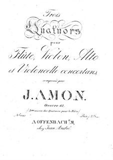 Three Quartets for Flute and Strings, Op.42: parte flauta by Johann Andreas Amon