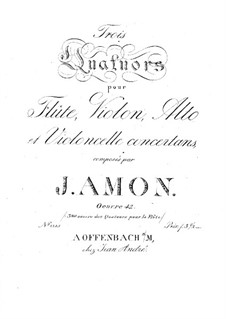 Three Quartets for Flute and Strings, Op.42: parte viola by Johann Andreas Amon