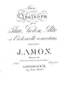 Three Quartets for Flute and Strings, Op.42: parte do violino by Johann Andreas Amon