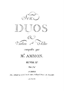 Six Duets for Violin and Viola, Op.2: seis duetos para violino e viola by Johann Andreas Amon