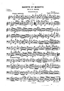 Suite No.3 in G Minor, BWV 808: Gavotte and Musette. Version for violin (or flute, or cello) and piano – cello part by Johann Sebastian Bach